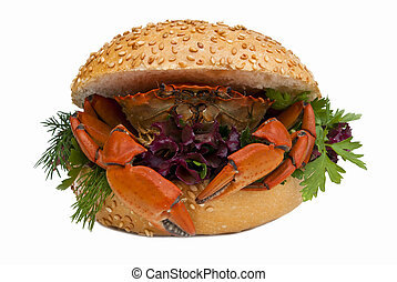 Crab - Sandwich with crab isolated on white