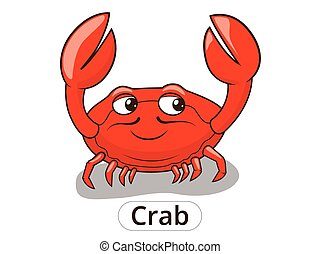 Crab sea animal fish cartoon illustration - Crab sea animal...