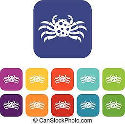 Crab sea animal icons set flat