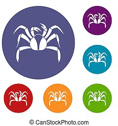 Crab sea animal icons set