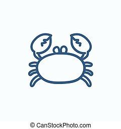 Crab sketch icon.