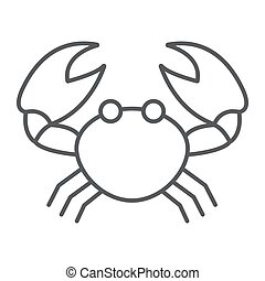 Crab thin line icon, animal and underwater, aquatic sign vector graphics, a linear pattern on a white background, eps 10.