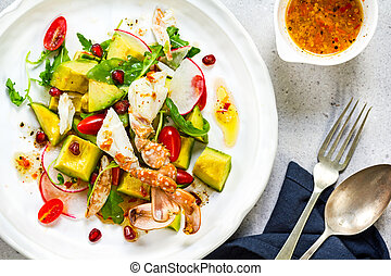 Crab with Avocado and Pomegranate salad