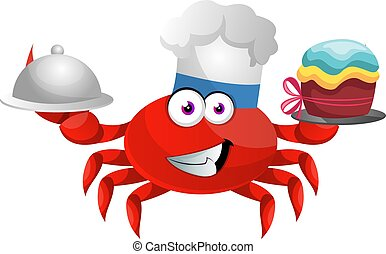 Crab with birthday cake, illustration, vector on white background.