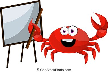 Crab with blackboard, illustration, vector on white background.
