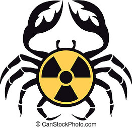 crab with radioactive sign, vector - cancer with radioactive...