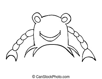 Crab with smile. Vector black illustration isolated on white background.