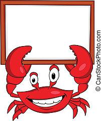 crabe, à, signe blanc