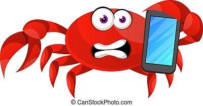 crabe, illustration, mobile, arrière-plan., vecteur, téléphone, blanc