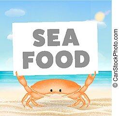 crabe, plage, fruits mer, mer sable, bannière