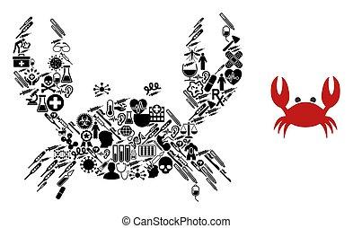 crabe, symboles, mosaïque, healthcare