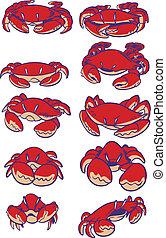 crabes, ensemble, art, agrafe, vecteur, dessin animé