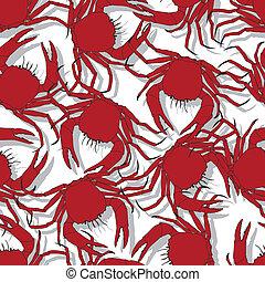 crabes, modèle, seamless, fond, rouges