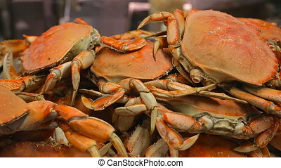 Appetizing freshly prepared crabs close-up - Crabs are...