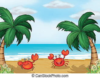 Crabs in the seashore - Illustration of crabs in the...