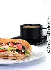 Crabstick Salad Baguette with Coffee