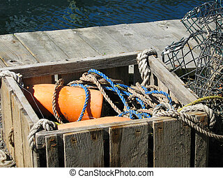 Crabtraps & Bouys - Crabtraps and bouys in an old wooden box...
