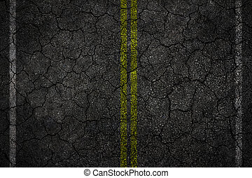 Crack asphalt Road Texture with White Stripes and yellow