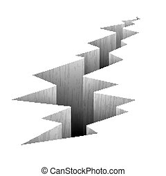 Crack fault line in ground vector illustration