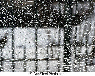Crack in the glass. Abstract background with crack
