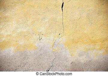 Crack in yellowed facade