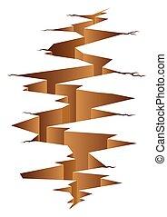 Crack Land - Graphic illustration of crack land, disaster,...