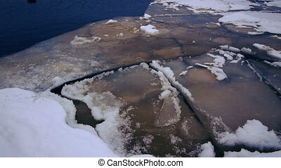 Crack of Onego lake ice, Petrozavodsk
