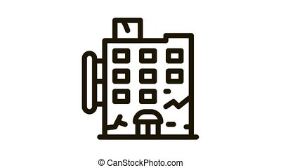 crack on residential building Icon Animation. black crack on residential building animated icon on white background