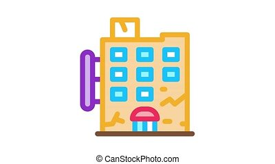 crack on residential building Icon Animation. color crack on residential building animated icon on white background