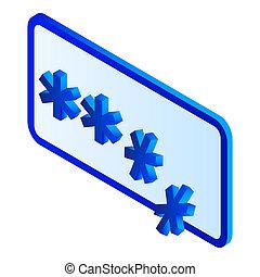 Crack password icon, isometric style