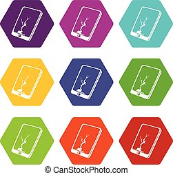 Crack screen smartphone icons set 9 vector