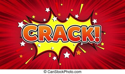 Crack Text Pop Art Style Comic Expression. - Crack! Text Pop...