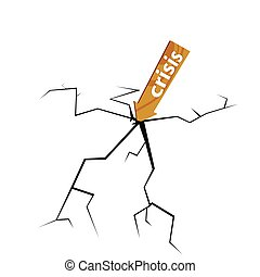 crack with wooden sign for crisis illustration