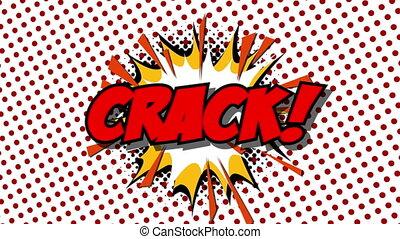 CRACK - word speech balloons comic style animation, 4K retro cartoon comics animation on green screen