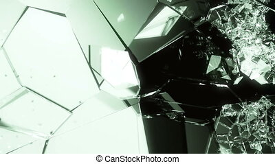 Cracked and broken Glass slow motion. Alpha matte