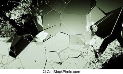 Cracked and shattered Glass slow motion