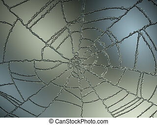 Cracked and Splitted glass with gradient light. Large...