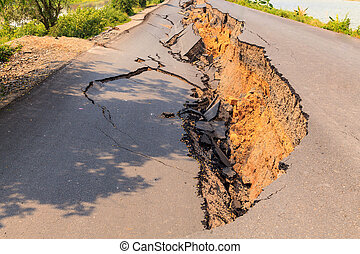 Cracked of asphalt road after the earthquake