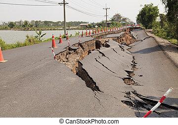 Cracked asphalt road