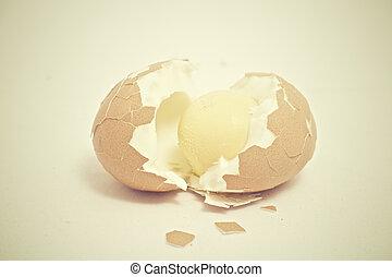 Cracked breakfast egg