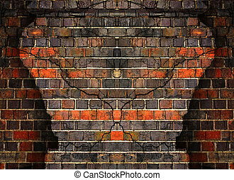 Cracked brick wall background
