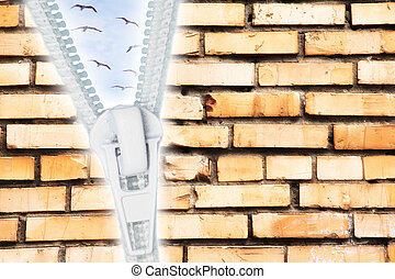 cracked brick wall with zipper open to sky with birds collage