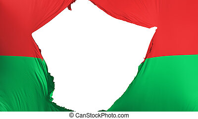 Cracked Burkina Faso flag, white background, 3d rendering