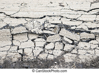 cracked cement road