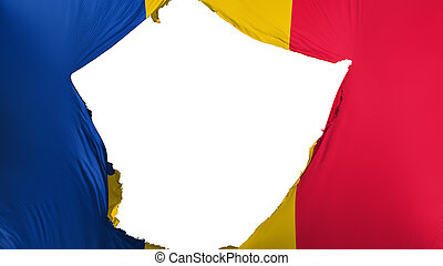 Cracked Chad flag, white background, 3d rendering