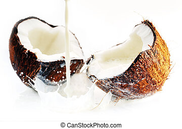 cracked coconut with splash - cracked coconut with big...