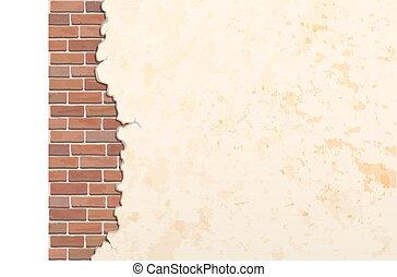 cracked concrete brick wall