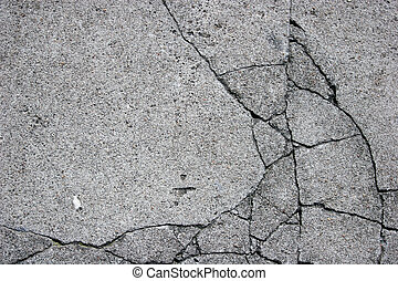 Cracked Concrete - Close up of cracked concrete surface.