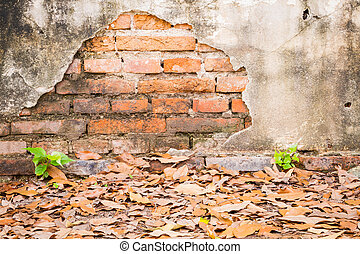 cracked concrete vintage brick old wall background.