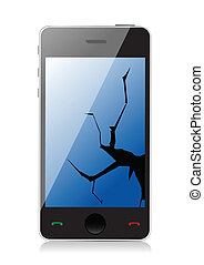 Cracked display phone illustration design over a white ...